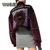 Harajuku Pattern Back Embroidery Letters Turtleneck Women S Sweatshirts Punk Female Zipper Pullovers