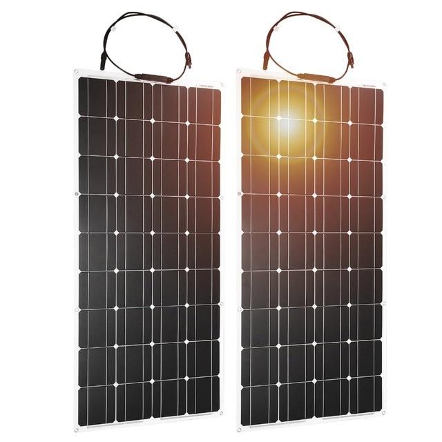 Dokio 2PCS 12V 100W Flexible Monocrystalline Solar Panel For Car Battery & Boat & Home 200w 300w 1000w 18V Solar Panel China 2