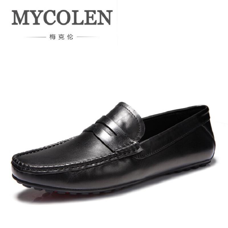 MYCOLEN New Fashion Genuine Leather Men Loafers Slip-On Casual Shoes Man Luxury Brand Driving Shoe Male Flats Footwear Black dxkzmcm new men flats cow genuine leather slip on casual shoes men loafers moccasins sapatos men oxfords