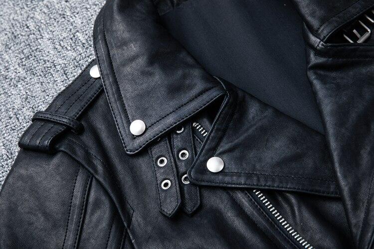 HTB1fUhXFL9TBuNjy0Fcq6zeiFXaw MAPLESTEED 100% Natural Sheepskin Tanned Leather Jacket Black Soft Men's Motocycle Jackets Motor Clothing Biker Coat Autumn M111