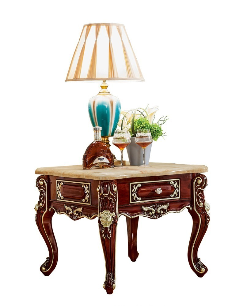 Antique Solid Wood Sofa Side Table For Luxury European