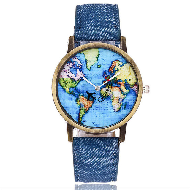 New Global Travel By Plane Map Women Dress Watch Denim Fabric Band Free Dropping