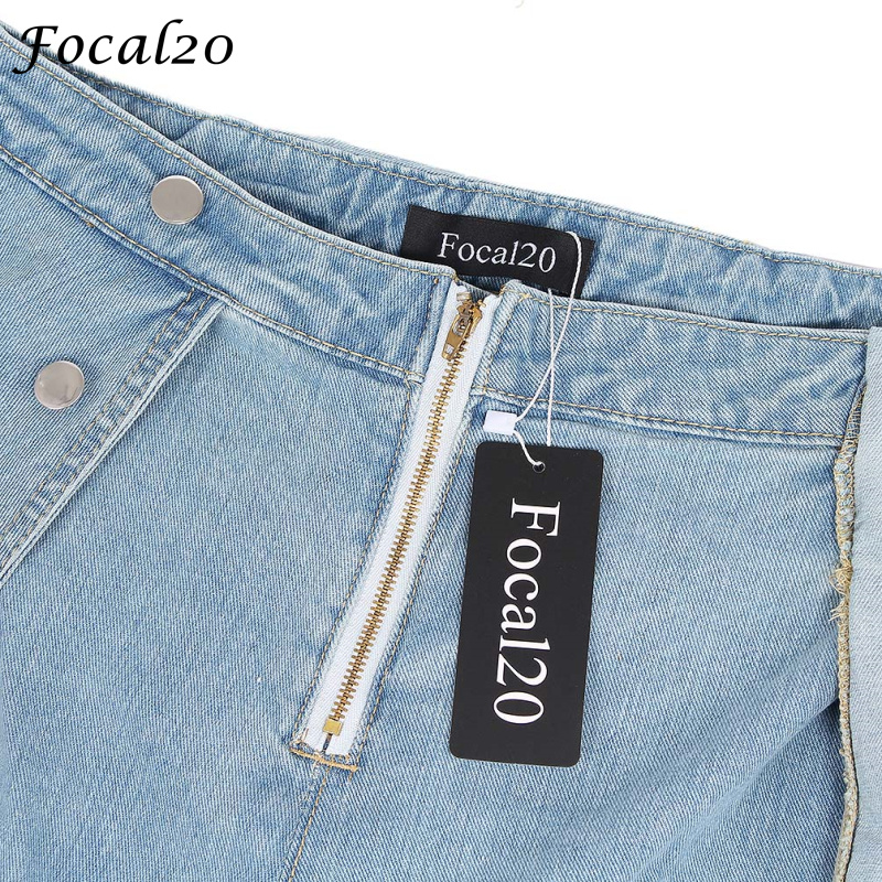 bd9139df717 Focal20 Casual Women Denim Playsuit Button Zipper Adjustable Strap Short  Jeans Pantskirt Jumpsuit-in Rompers from Women s Clothing on Aliexpress.com  ...