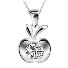 1 PCS Cute Kawaii Women Lady Girls Silver Plated Clavicle Charm Small flat Apple Pendant NEW Christmas Jewelry 1.2*1.3cm