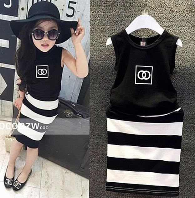 2pcs Clothing Outfit Set Baby Suit Black Top+Striped Shirt Tight Fashion Wear Slim Dressing For 2-9 Year Girl, J556