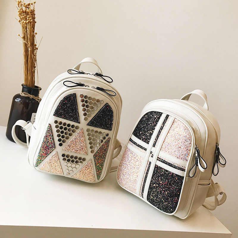 Miyahouse Мода блестками рюкзаки Для женщин небольшой заклепки Дизайн рюкзак из искусственной кожи женский досуг Сияющий плечо школьная сумка