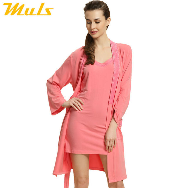 Gown dress women casual Sleep Lounge Modal Robe Set For women Knitted Modal Ladies Nightgown Suit Sexy Lace Bathrobe 1538