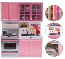 Pink Sale Kid Kitchen Fun Toy Pretend Play Cook Cooking Cabinet Stove Set Toy girls toys kids toys online kids kitchen sets