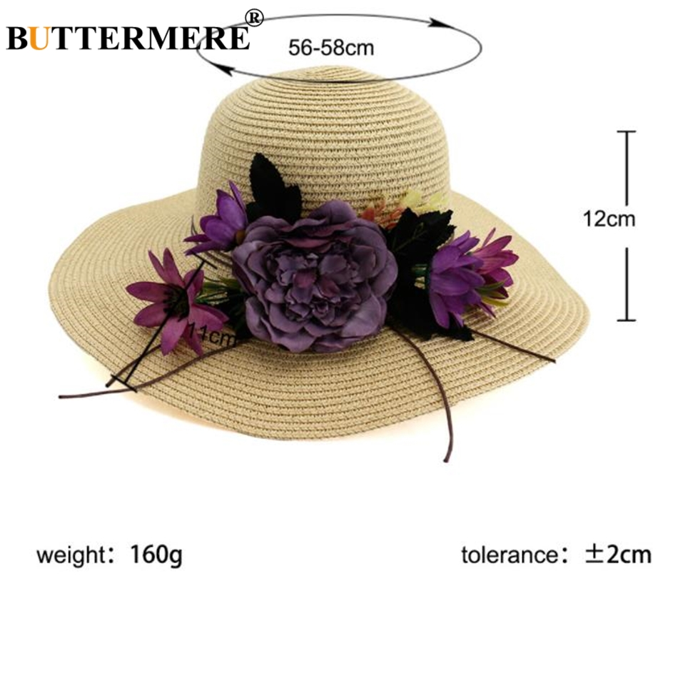 BUTTERMERE Flower Wide Brim Sun Hat For Beach Women Straw Hat Khaki Beautiful 2019 Summer Elegant Ladies Church Hats in Women 39 s Sun Hats from Apparel Accessories