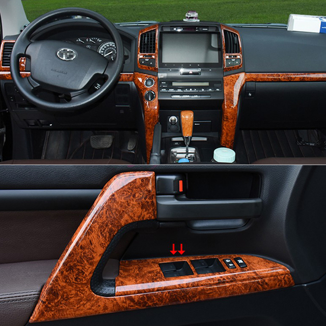 For Toyota Land Cruiser 200 2008-2015 Interior Wooden Color Trim Cover Package Chrome Car-Styling Accessory