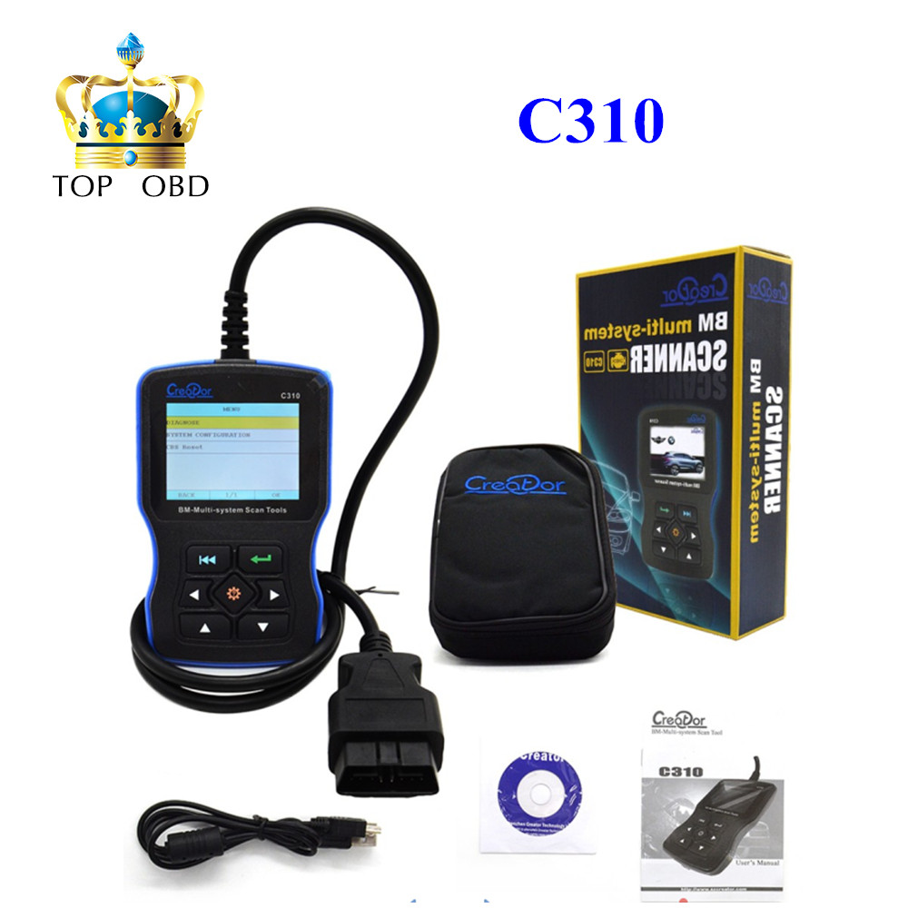 Prix pour Nouveau Créateur C310 + Pro V6.1 Version OBD 2 OBDII Multi-Système Lecteur de Code Scanner Pour BMW Mini OBD2 Outil D'analyse PK inpa k dcan d peut
