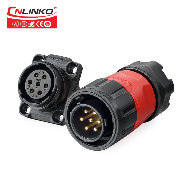 Cnlinko ip67 m20 panel male female Aviation Plug <font><b>7pin</b></font> Power Connector waterproof <font><b>din</b></font> plastic electric connectors for LED Display image