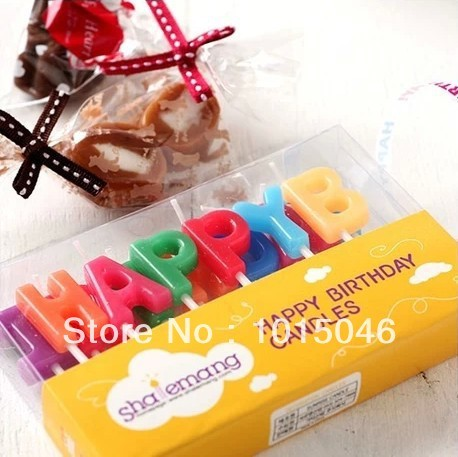Free Shipping 1X Smoke Birthday Candle Happy Letter Cake Child