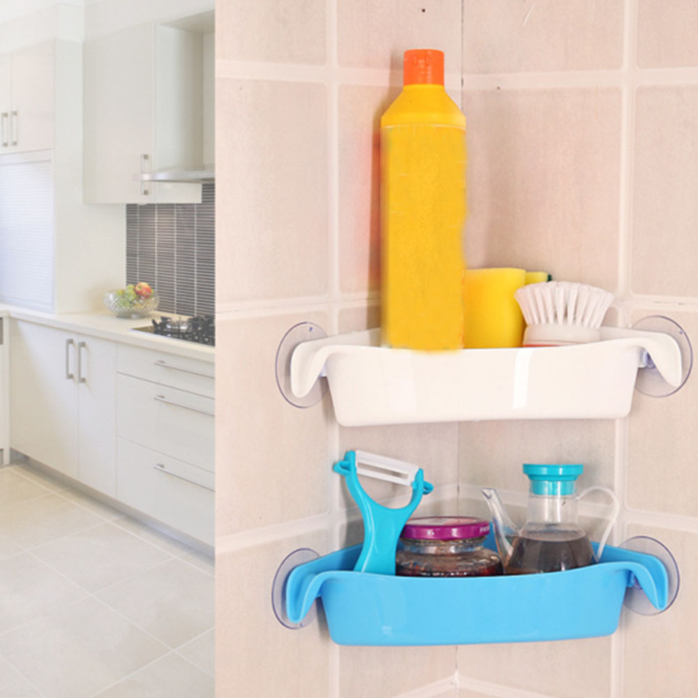 Wall Mounted Sink Corner Kitchen Storage Holder Bathroom Holder Shelves for Bathroom Wall Shelf Shelving 4 Colors
