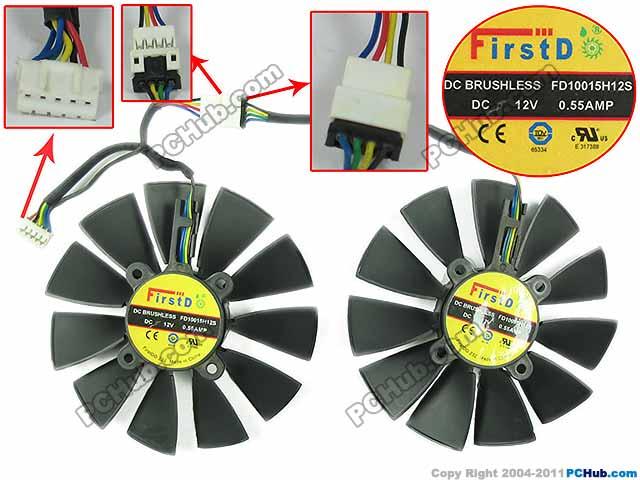 Emacro pour Firstd FD10015H12S double ventilateurs DC 12 V 0.55A Dia. Ventilateur refroidisseur sans cadre de serveur de 94mm C.T.C 28mm