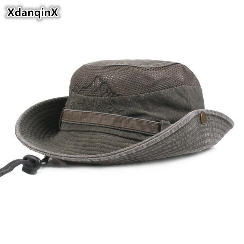 XdanqinX Adult Men's Hat Summer Retro 100% Cotton Ventilation Bucket Hats Fashion Wind Rope Fixed Dad's Sun Hat New Fishing Cap