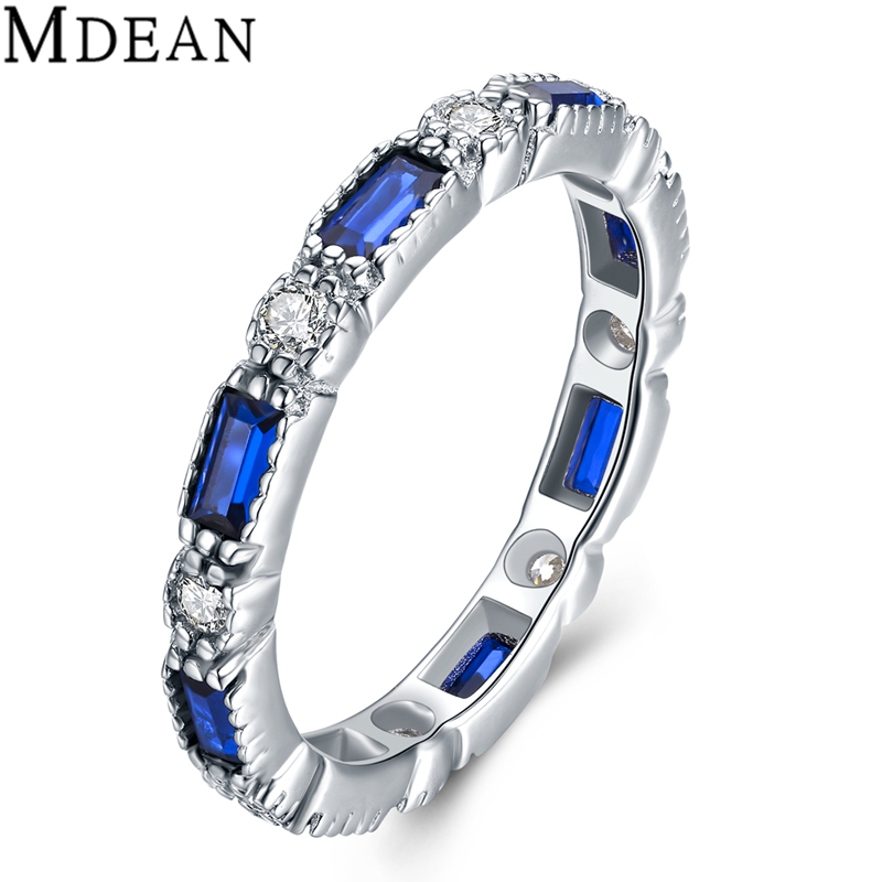 MDEAN 925 Sterling Silver Sapphire Jewelry font b Rings b font for Women Genuine Solid Pure
