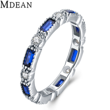 MDEAN 925 Sterling Silver Sapphire Jewelry Rings for Women Genuine Solid Pure CZ Diamond Sterling-Silver-Jewelry Bague MSR469
