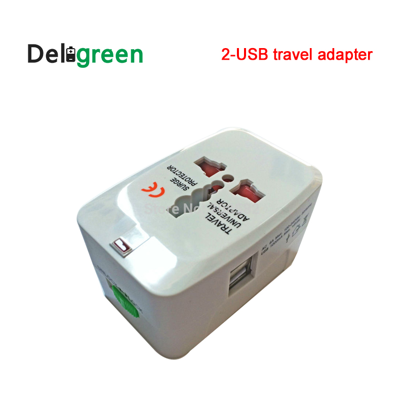 2-USB All In One Universal Adapter Surge Protector Socket Plug for Traveling with World-wide UK AU US AC plugs gemei gm 7003