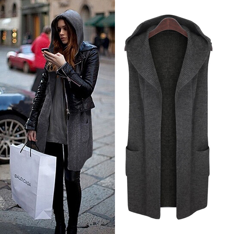 Hooded Normcore Minimalist Plus Size womens Cap Collar Vest Loose Thick Sweater Cardigan Jacket