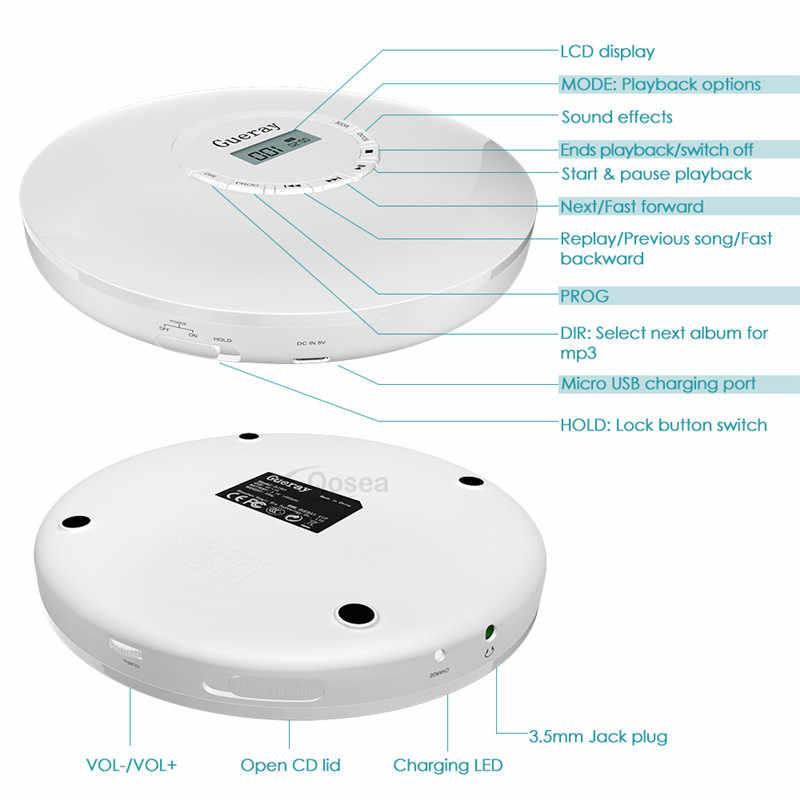 CD-плеер портативный с наушниками 1400 мАч перезаряжаемый ЖК-экран аккумулятора анти-шок персональный CD музыкальный диск проигрыватель Walkman