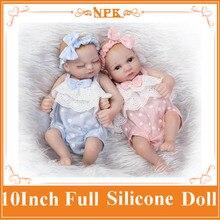 NPK Mini 10inch Full Body Silicone Reborn Dolls BeBe Reborn Doll Toys Lifelike Newborn Doll Brinquedos