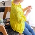 2016 Grandes Virgens Camisa Sol de Verão New Coreano das Crianças do Sexo Feminino Blusas Camisa com Ar-condicionado Babado Camisola de Malha Cardigan meninas
