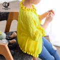 2016 Virgen Grande Sol de La Camisa del Verano Nuevos Niños Coreanos Mujer Suéteres Camisa con Aire acondicionado Volante Suéter Cardigan de Punto niñas