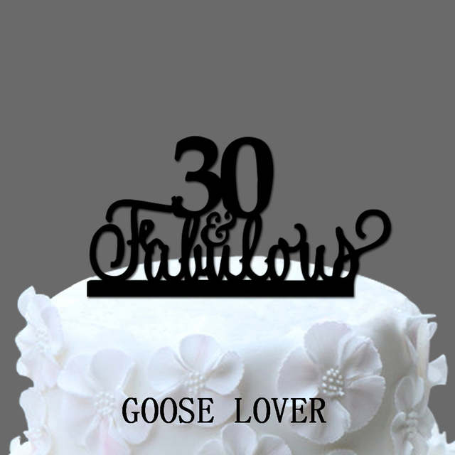 Placeholder 30th And Fabulous Cake Topper Birthday Party Decoration Acrylic