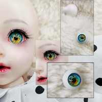 Bjd augen DIY Grün gelb eye druck 3d solide kunststoff augapfel 12mm 14mm 10mm 22mm 18 16mm BJD Augen für 1/3 1/4 1/6 1/8 sd MS puppe