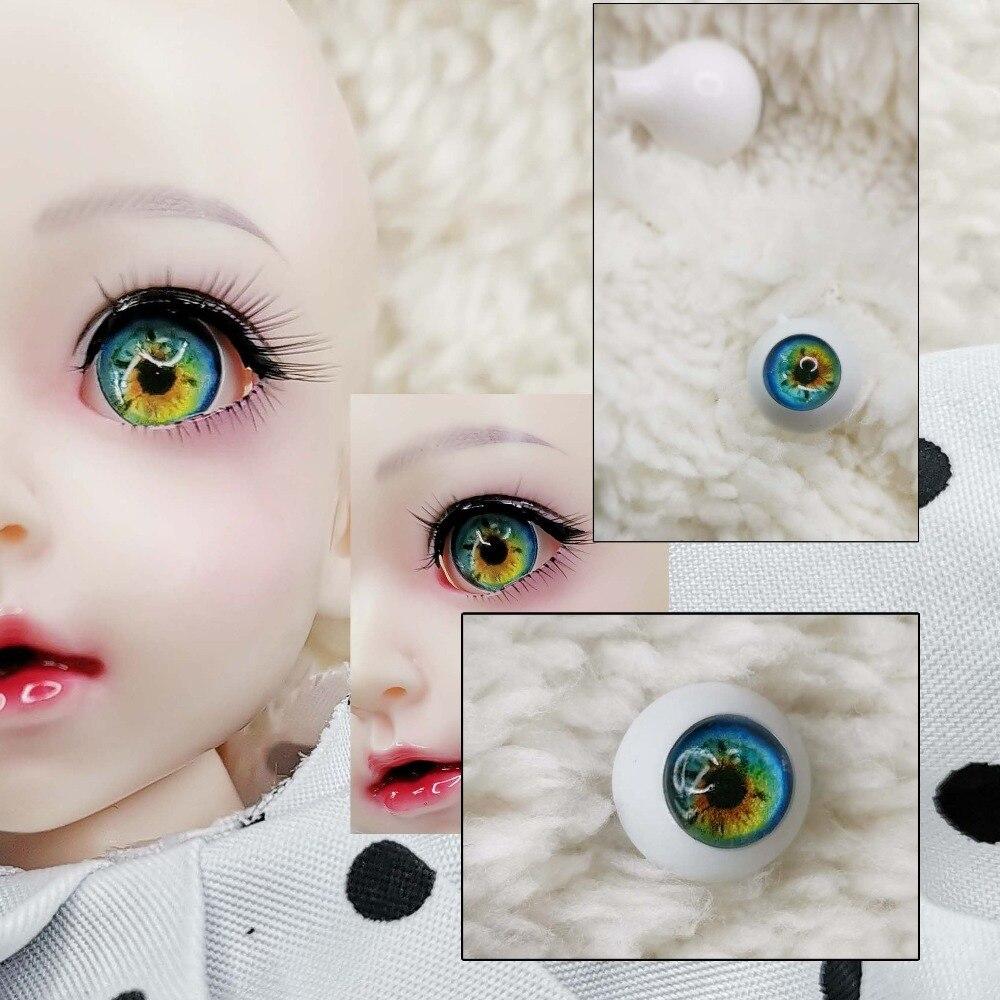 Bjd olhos diy verde amarelo olho impressão 3d plástico sólido globo ocular 12mm 14mm 10mm 22mm 18 16mm bjd olhos para 1/3 1/4 1/6 1/8 sd ms boneca