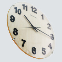 Large Round 12inch 30cm Wooden Frameless Wall Clock Big Numerals Easy to Red Silent Non Ticking Clock for Living Room