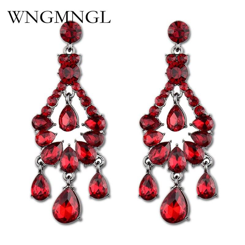 WNGMNGL Elegant Water Drop Chandelier Earrings Fashion Red