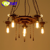 FUMAT Industrial Vintage Loft Retro Style Bicycle Gear Pendent light 6 7 9 Lights With Edison Bulbs Chandelier Lamp