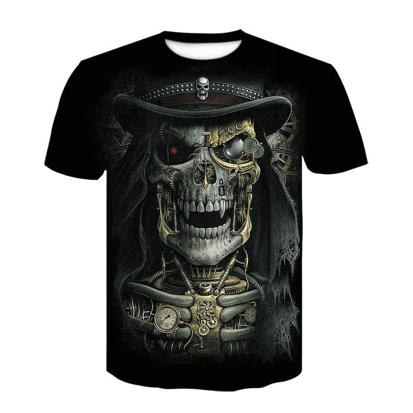 Men's Summer 2019 Skull Print Short-sleeve T-shirt 3D T-shirt Casual Breathable T-shirt Large Size T-shirt
