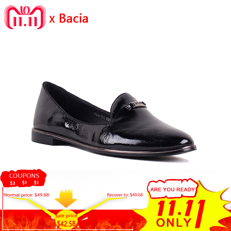 Bacia 2017 Women Simple Flats Slip On Genuine Leather Casual Shoes Comfortable Round Toe Flat Shoes Woman Plus Size 35-41 SB033 стоимость