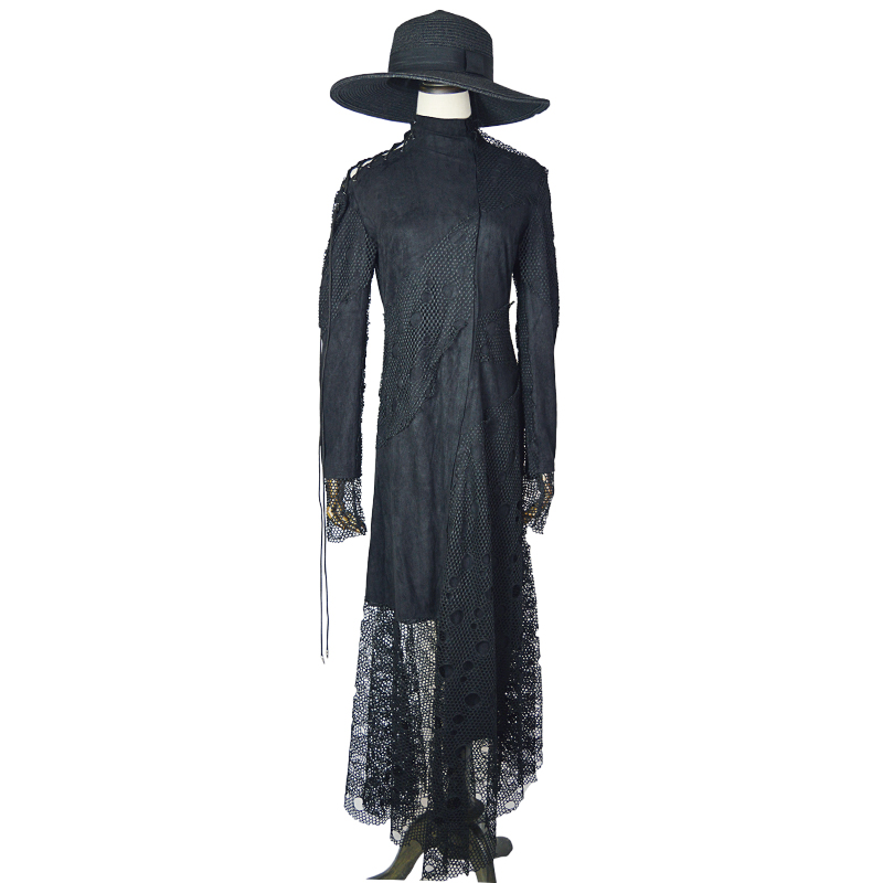 Haute Taille Résille La Partie Creux Automne Élégant Gothique Femmes Constumen Cou Halloween Robe Robes Maille Longues Noble Fantaisie Plus x8HR74qwP