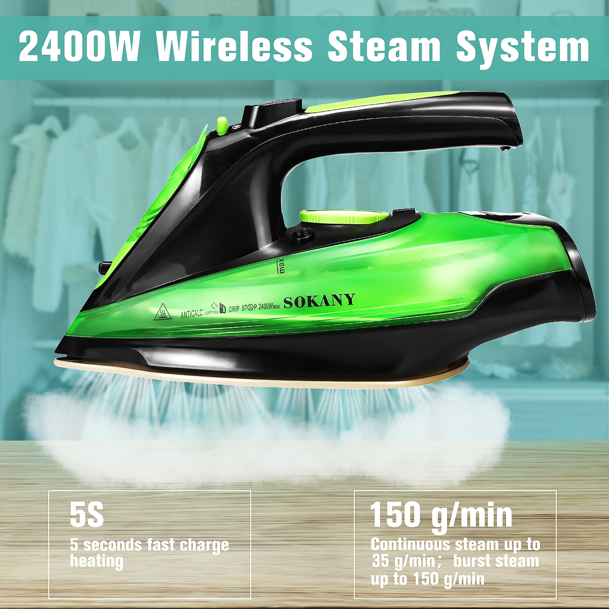 2400 W 5 vitesse ajuster sans fil sans fil charge Portable vapeur fer vêtements repassage vapeur Portable en céramique semelle EU Plug