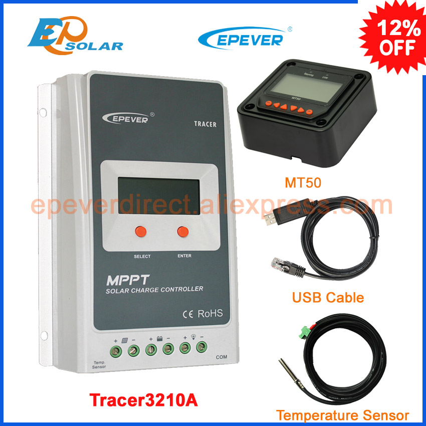 Tracer3210A 30A MPPT Solar Charge Controller 12V 24V EPsolar Regulators with MT50 Meter and PC USB & Temperature sensor cable 20a 12v 24v ep epipdb com dual duo two battery solar charge controller regulators with mt 1 meter