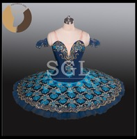 2016 Adult Ballet Tutu Nutcracker 12 Layes Hard Tulle Skirts Nylon Bodies Royal Blue Color Classical