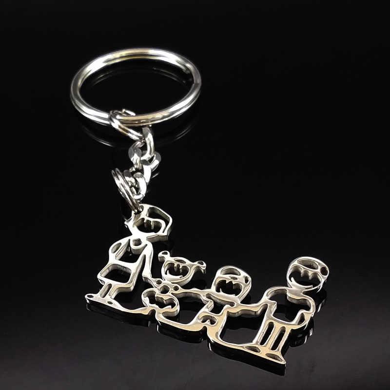 2019 moda nova família de aço inoxidável chaveiros jóias menino e menina cor prata chaveiros presentes k7641b