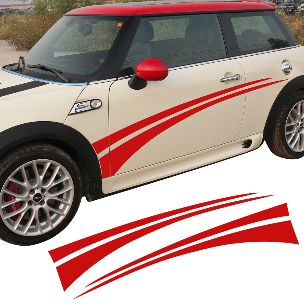 Door Side Stripes Racing Body Sport Decal Stickers For Mini Cooper R50 R52 R53 R56 R57 R58 R59 F55 F56 Car Styling Accessories aliauto car styling side door sticker and decals accessories for mini cooper countryman r50 r52 r53 r58 r56