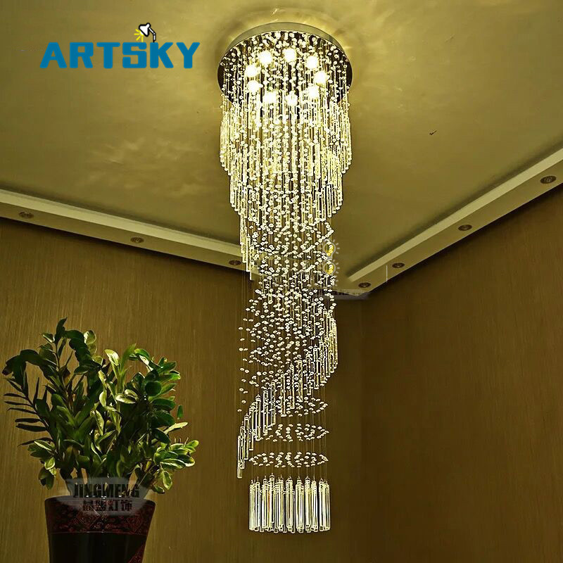 Modern large crystal chandelier lighting for hotel hallway stairwell modern large crystal chandelier lighting for hotel hallway stairwell long stair light led hanging ceiling lmap living room lamp in chandeliers from lights aloadofball Image collections