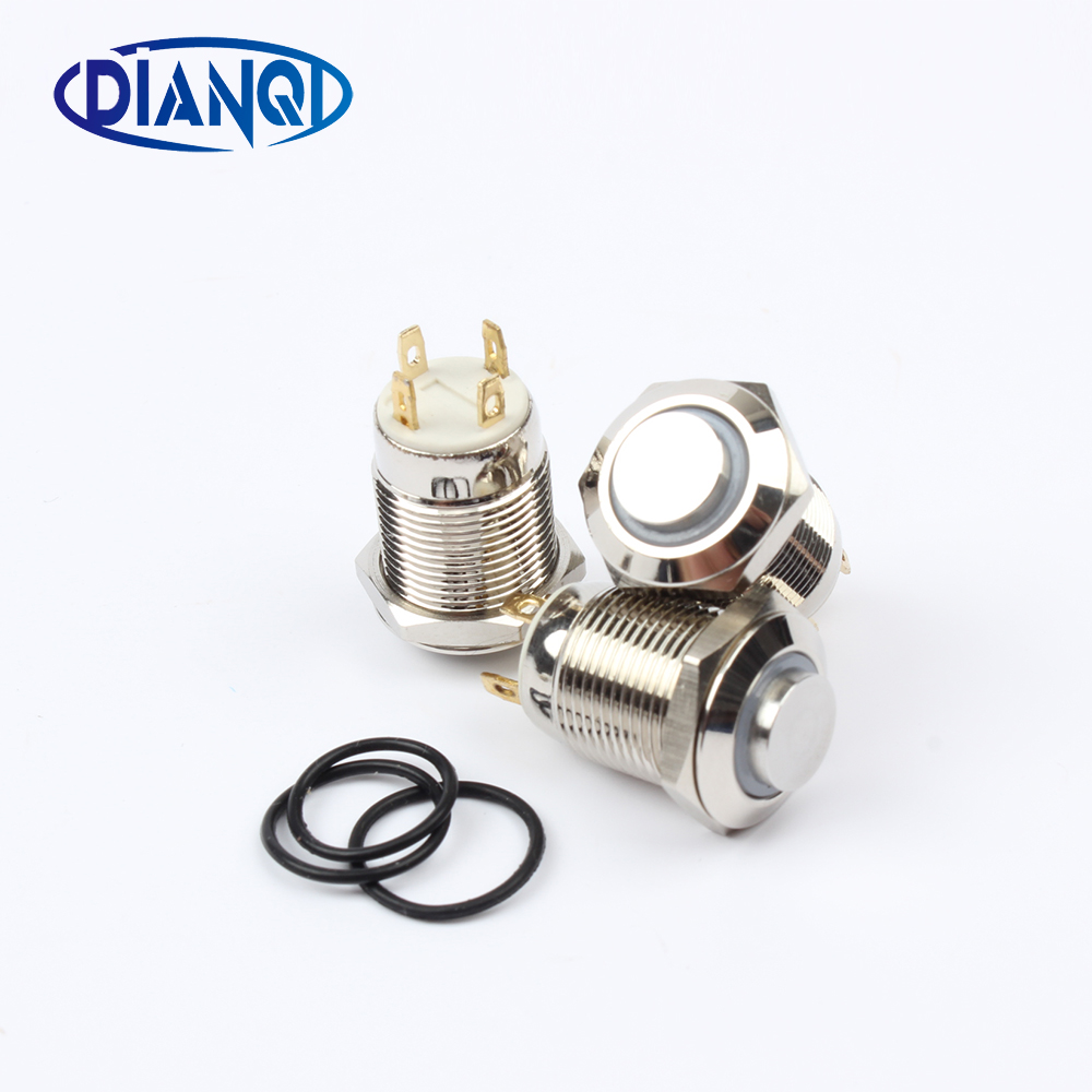 12mm metal brass push button switches ring illumination high round switch flat shape momentary 1NO pin terminal 12GTHX.F 5pcs 12mm 3v blue led metal momentary 4pin mini push button switch 1no 2a 250vac