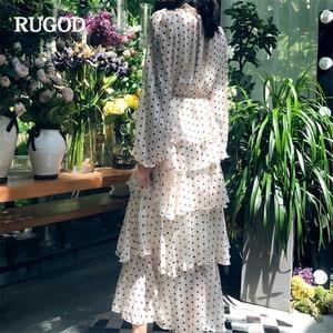 Image 4 - RUGOD אלגנטי מדורג לפרוע שמלת נשים טמפרמנט זהב קו ארוך שרוול המפלגה שמלת הדפסת נקודה מזדמן בוהמי בז שמלה