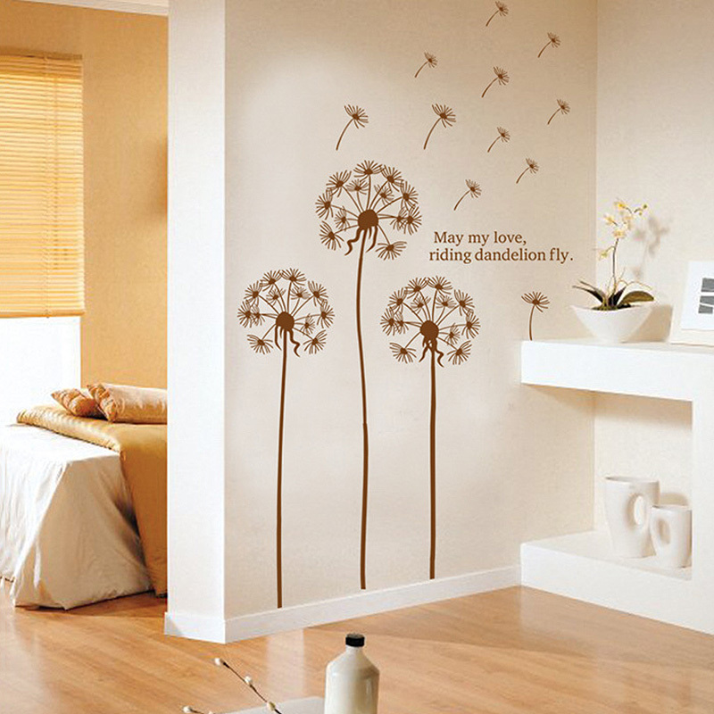 Beautiful Dandelion Wall Decal Stickers Living Room Bedroom Kids Room PVC  Transparent Wall Decor Accessories Brown Part 96