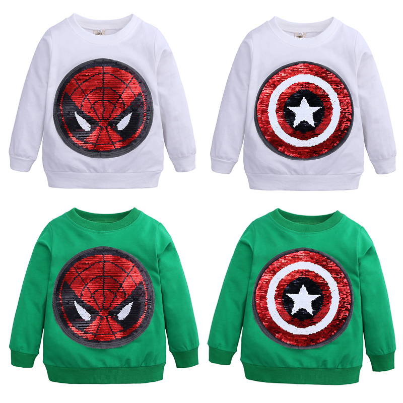 Baby Boys T Shirt Sequin Spiderman Captain America Cotton Hoodie Sweater Shirt Children Kids Sport Causal T Shirt kid Clothing in T Shirts from Mother Kids