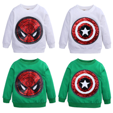 Baby Boys T Shirt Sequin Spiderman & Captain America Cotton Hoodie Sweater Shirt Children Kids Sport Causal T Shirt kid Clothing цена 2017