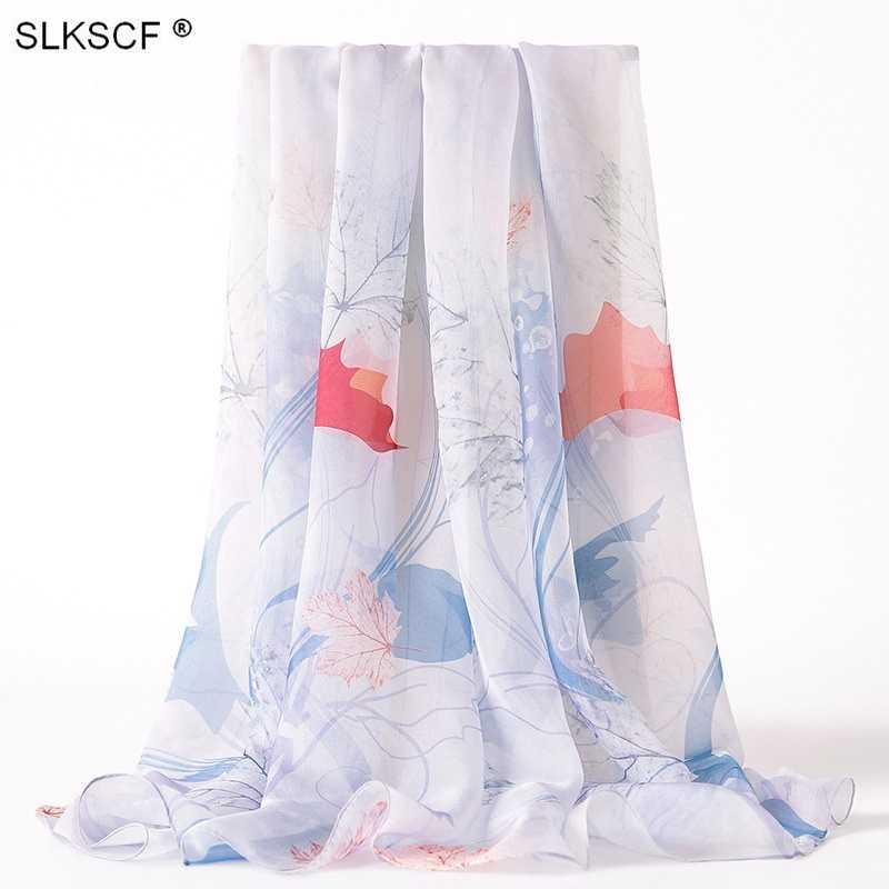 [SLKSCF] 180X70 популярный элегантный Шелковый шифон с узором шарф летнее полотенце для лица Шелковый Солнцезащитный крем накидки исламские хиджабы