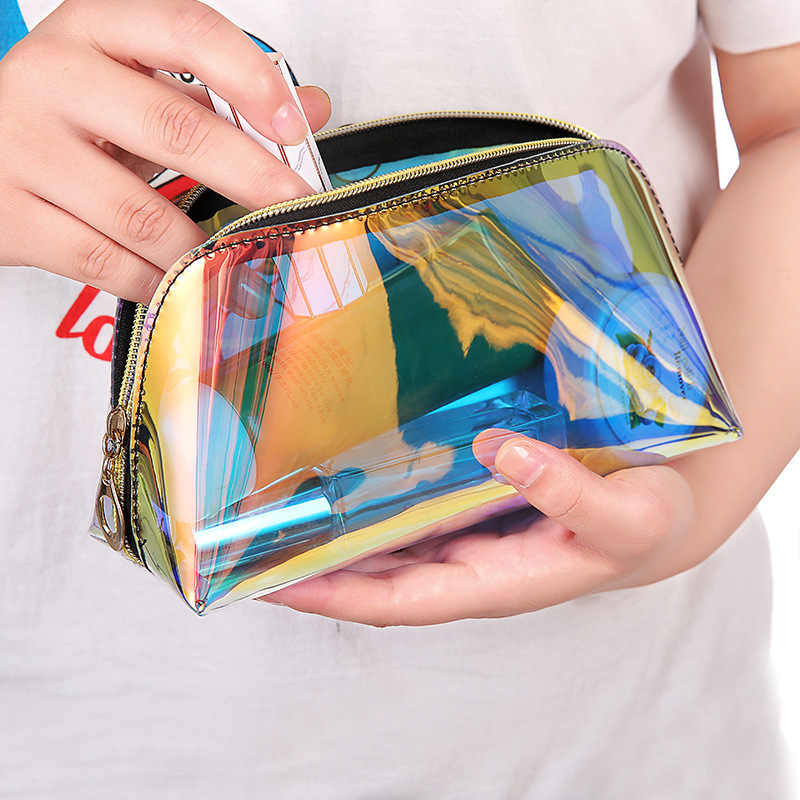 1PC Laser Cosmetic Bag Women Makeup Case PVC Transparent Beauty Organizer Pouch Female Jelly Bag Lady Make up Pouch